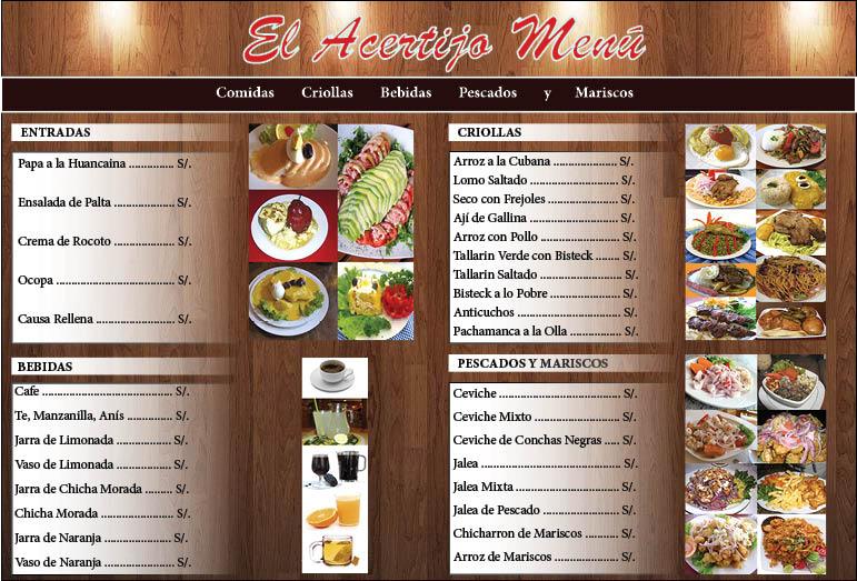 Dise os fotos y dibujo carta menu en indesign for Disenos de menus para cafeterias