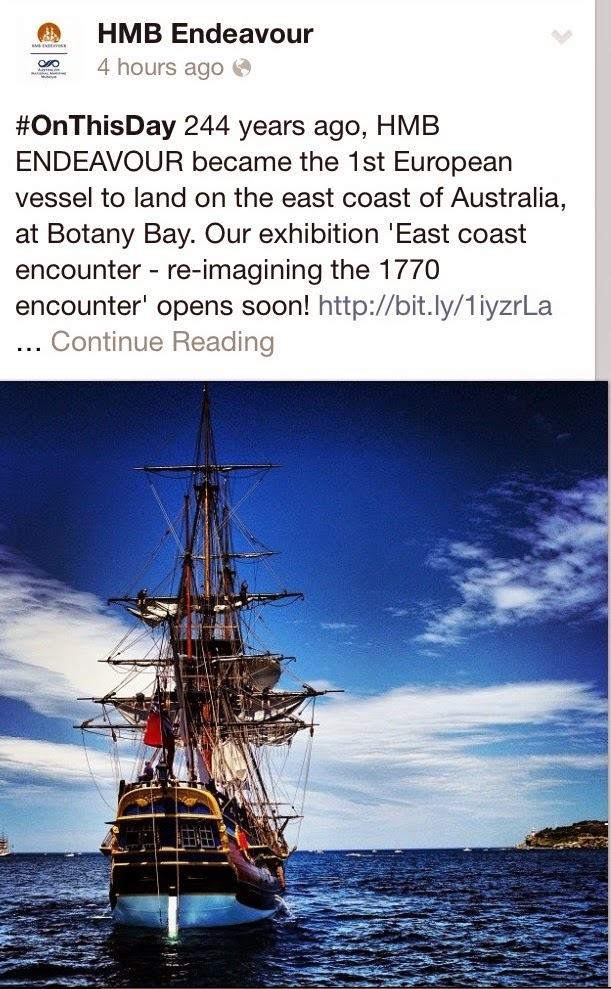 Facebook post screen shot of HMB Endeavour from Australian National Maritime Museum on capturingvenice.blogspot.com