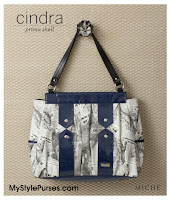 Miche Bags Cindra Prima Shell June 2012 - Newsprint and Navy Purse
