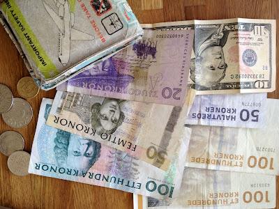 sek, danish kroner.  exchange rate is 6.5 sek to 1 usd