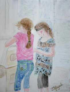 Girls Checking Out Art