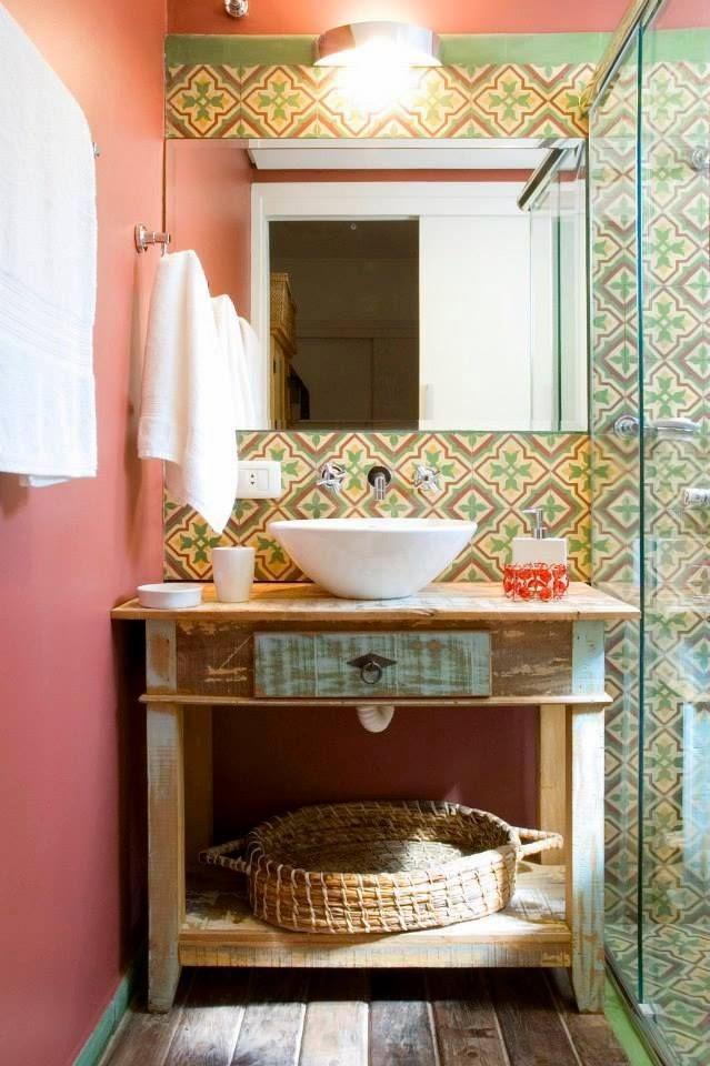 Decoração Inspiração rústica para banheiros e lavabos!!  Jeito de Casa  Bl -> Pia Para Banheiro Rustico