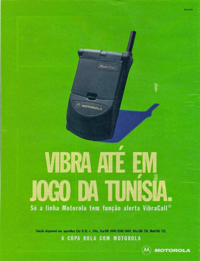 Propaganda da Motorola para apresentar sua primeira linha de aparelhos com a função Vibracall.