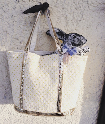 sac cabas à paillettes dorées