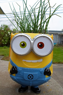 minion chive planter-recycled easter basket