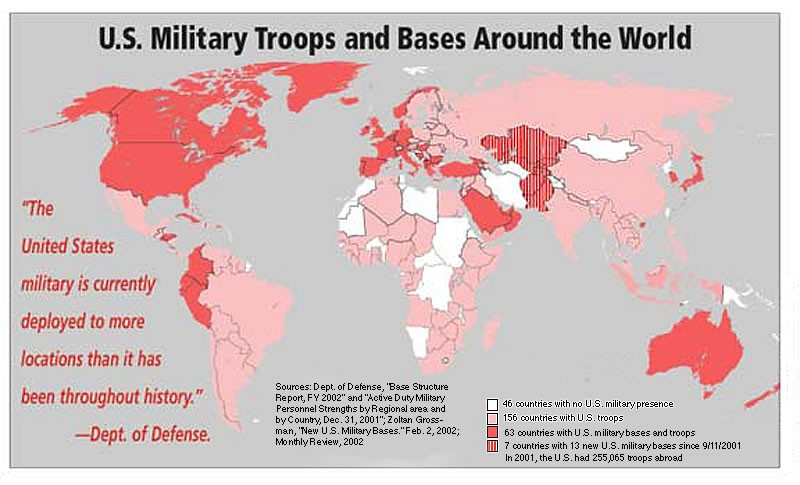 Map Of US Military Activity Jakes GIS Blog - Us military bases in europe map