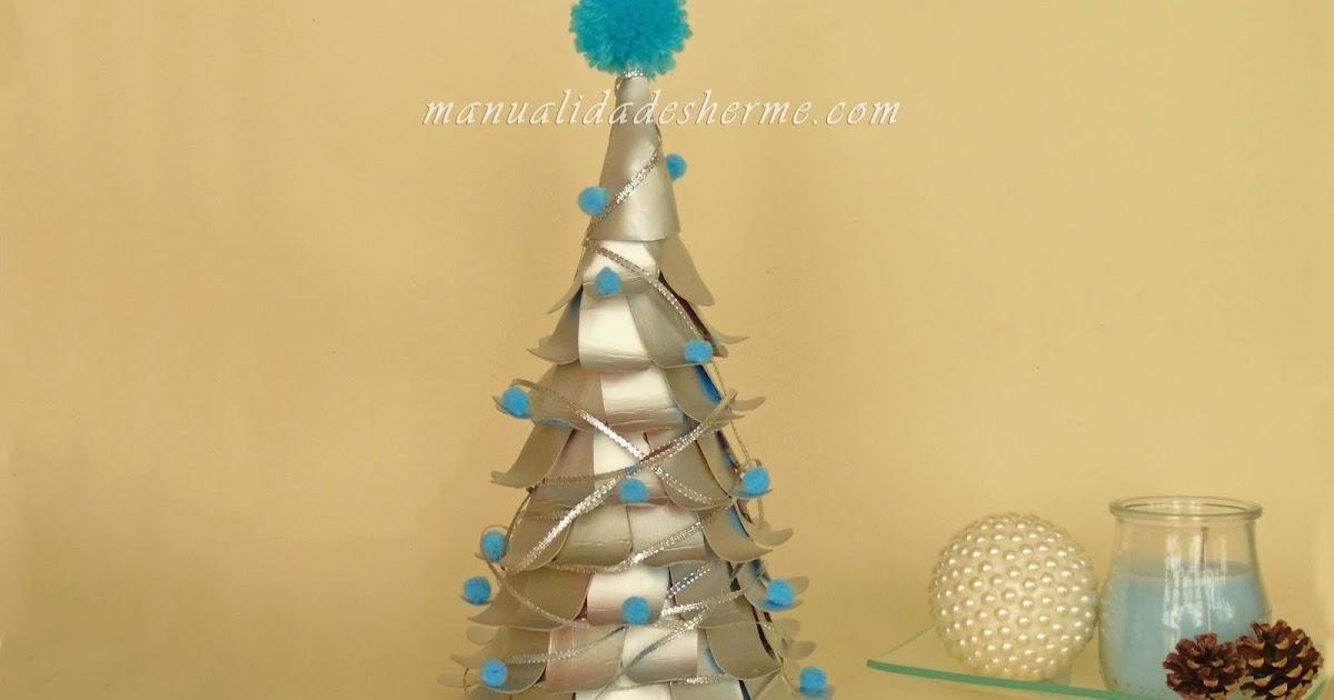 Manualidades herme hacer rbol de navidad con cartones de for Adornos de navidad con carton