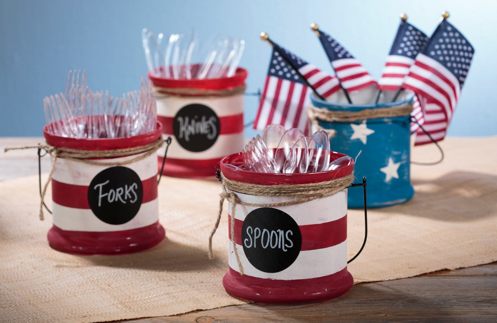 4th of July Americana Decor Chalky Paint Jars, #craftwarehouse, @craftsavy, #diy, #party