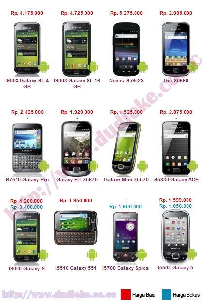 harga HP Android Samsung Terbaru 2011 diatas adalah patokan harga ...