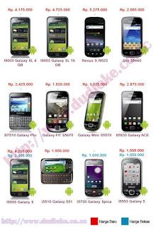 Android Samsung Terbaru 2011 diatas adalah patokan harga Jakarta dan