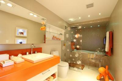 Banheiros Decorados laranja
