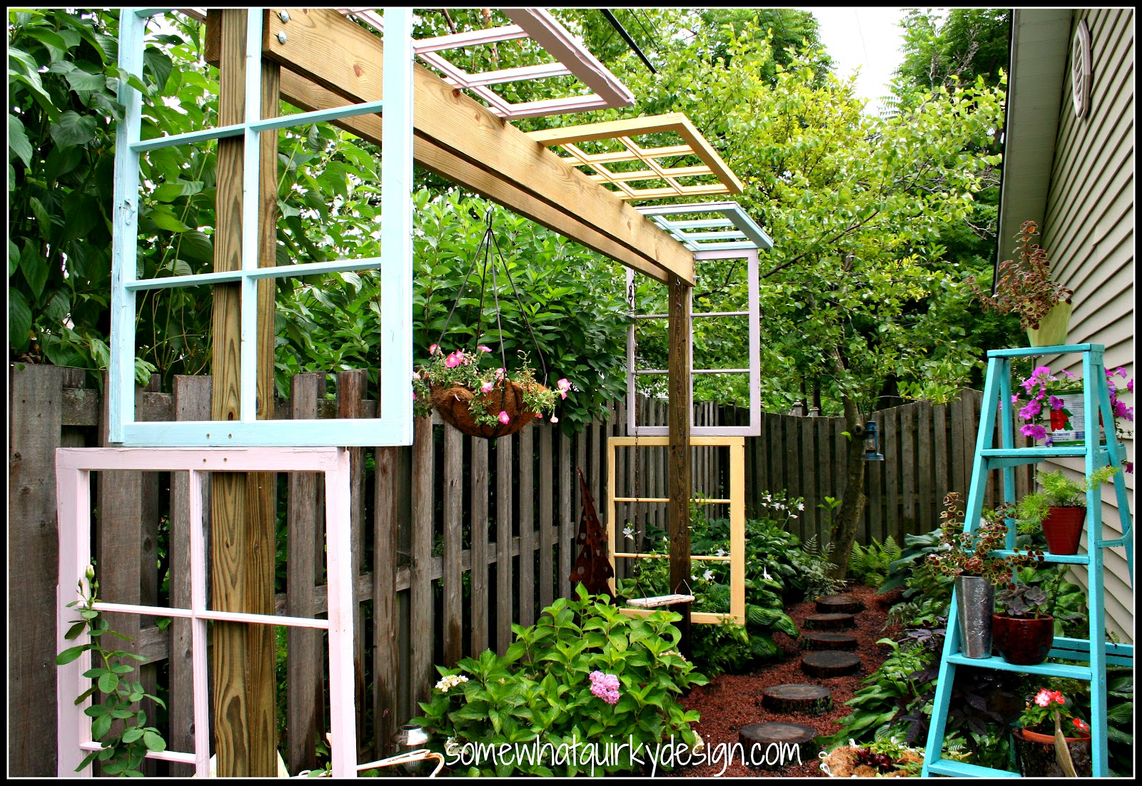 somewhat quirky building a modified pergola with recycled windows