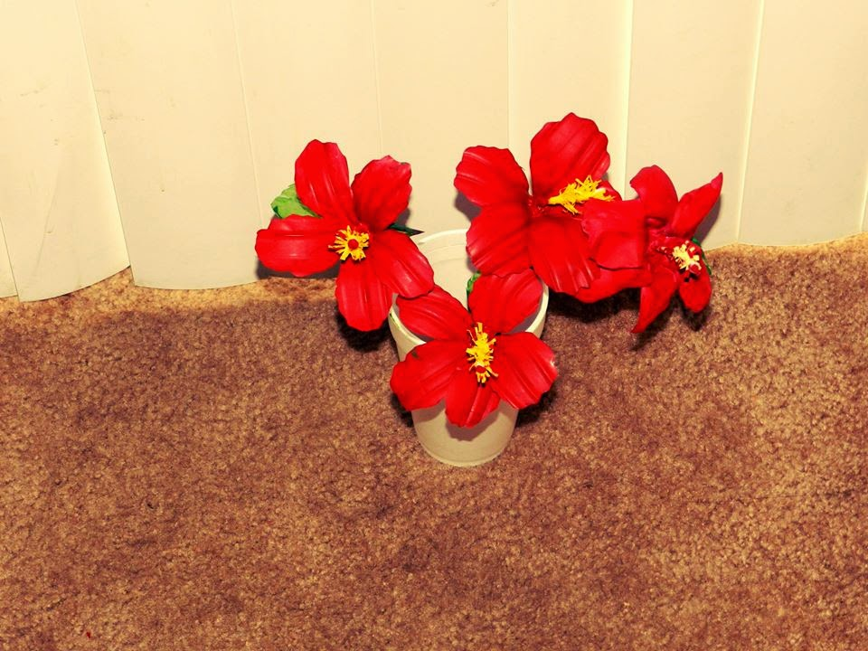 Creative diy crafts recycled diy hibiscus flowers made for Waste material flower making