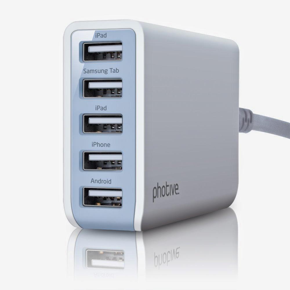 Photive 25 Watt 5 Port USB Desktop Rapid Charger