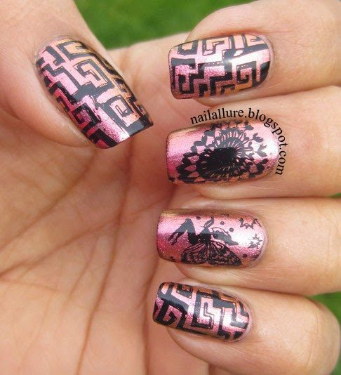 Black Stamping nail art on pink copper duochrome