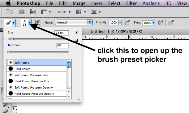 Paint Brush Tool Photoshop Cs