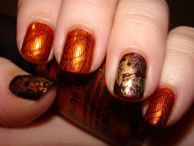 china glaze cross iron 360, fall, thanksgiving, konad, nails
