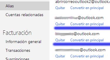 Como eliminar una cuenta alias de Outlook