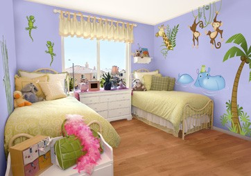 Beautiful bedrooms for children using stickers