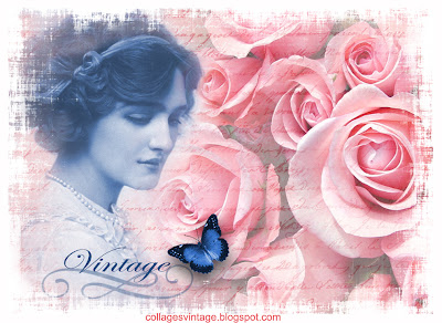 fondo vintage con rosas y mariposa