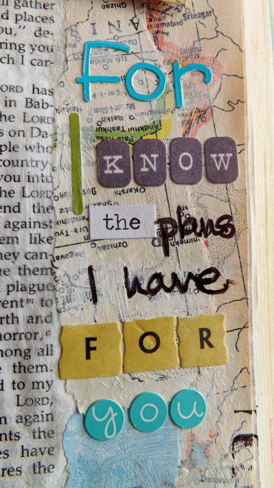 Journaling Bible art in Jeremiah 29:11 with stickers, hand lettering and gesso.