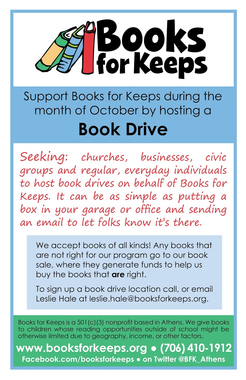 Books for Keeps Book Drive Month its not too late to host – Food Drive Flyer Samples