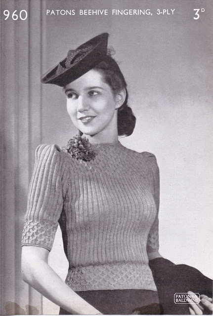 The Vintage Pattern Files: Free 1940's Knitting Pattern - Patons No. 960