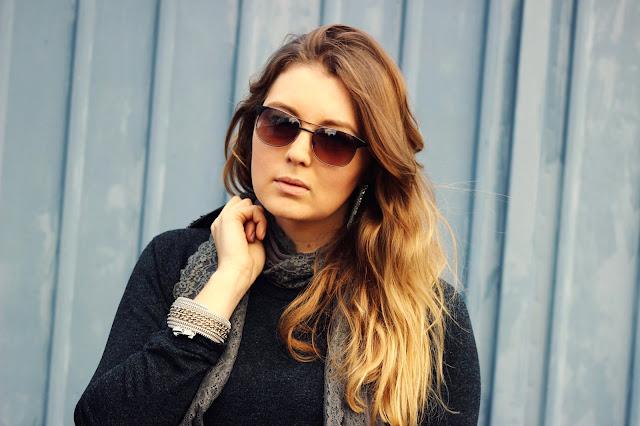 Takko Blazer, Femme Seven Schal, shades of grey, overknees, Overknee boots, sunglasses, german fashionblogger, Hamburg Modeblogger, Herbst Trend 2013, dots, hosiery, gepunktete Strumpfhose,