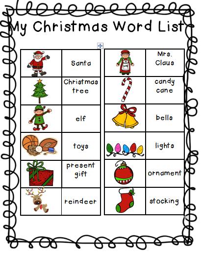 christmas vocabulary word list pdf