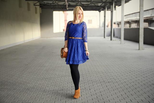 Kobaltowa sukienka + recenzja keratynowego prostowania włosów