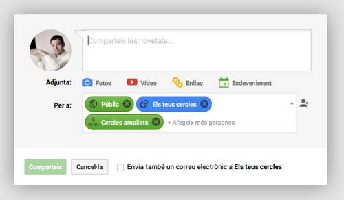 Pantalla quadre de publicació de la Xarxa Social Google Plus