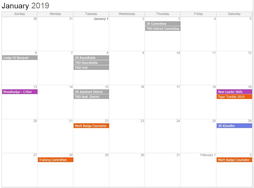 TRD Calendar (static snapshot - Click anywhere on the snapshot to link to the actual live calendar)