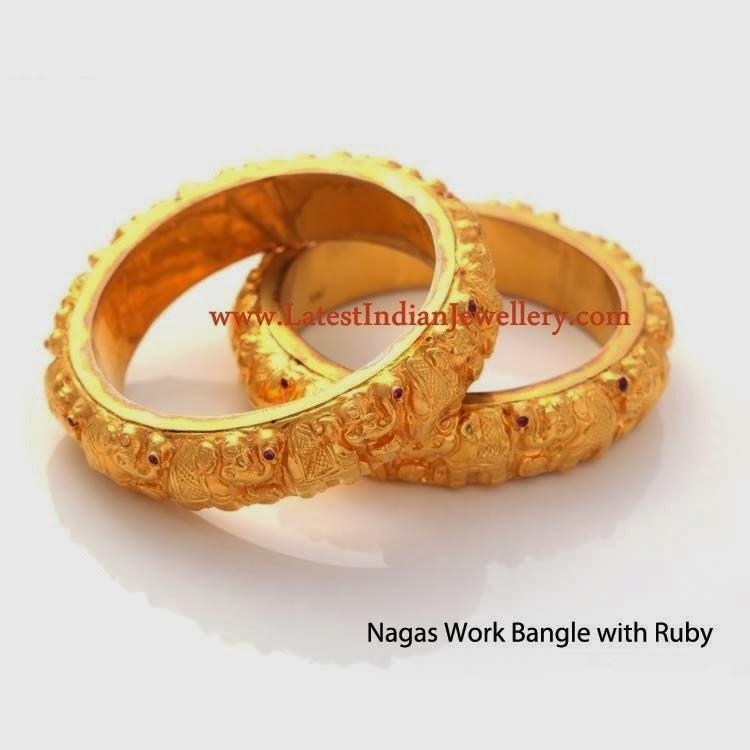 Nagas Work Gold Bangles