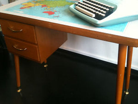 Mad for mid century april 2013 luckily it looks like there are a few different mid century desks with world map tops out there hopefully one will be available when homework time starts gumiabroncs Choice Image