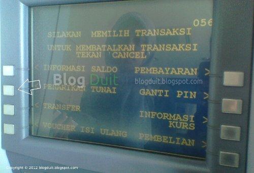 Gambar Pilih Transaksi Penarikan Tunai ATM BCA