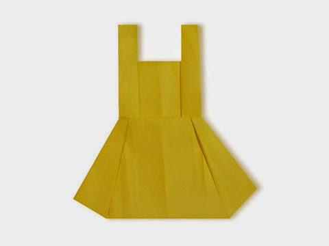 Cách gấp, xếp váy liền thân bằng giấy origami - Video hướng dẫn xếp hình quần áo - How to fold a skirt