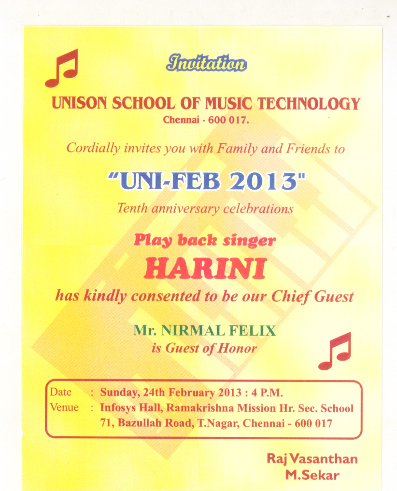 UNISON SCHOOL OF MUSIC COMPOSITION Invitation 10th Anniversary