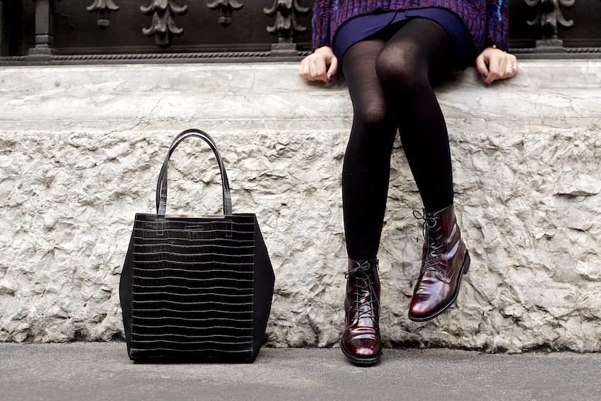 stivaletti burgundy vinaccia outfit idea