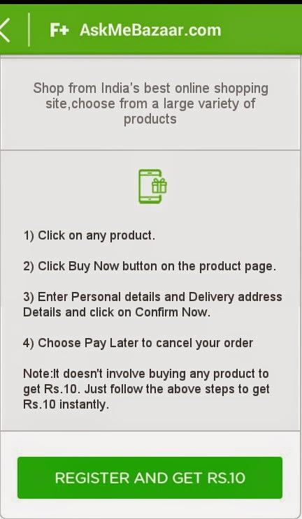 Register at AskMeBazaar.com and Get Rs 10 Free Talktime - Free Plus App