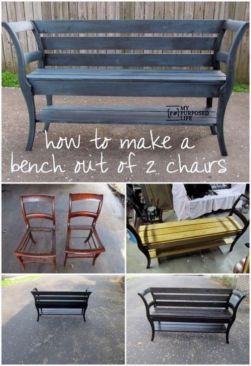 el mundo del reciclaje diy un banco con dos sillas. Black Bedroom Furniture Sets. Home Design Ideas