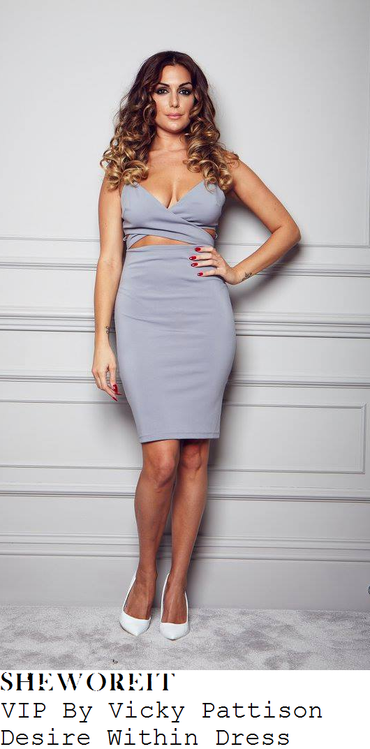 vicky-pattison-grey-sleeveless-plunge-wrap-front-cut-out-detail-bodycon-dress