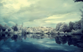Winter Snow Frost Lake Trees Clouds HD Wallpaper