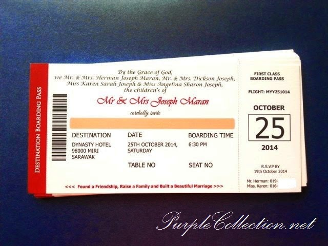 40th Anniversary Invitation Card (Boarding Pass Travel Theme)