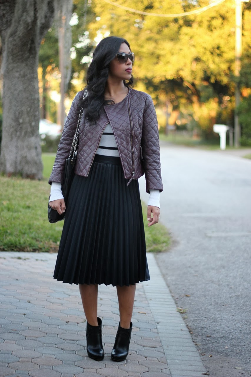 quilted oxblood burgundy leather jacket zara pleated midi skirt gucci chanel booties sunglasses bag