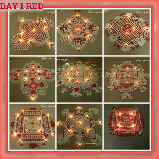 Navaratri Rangoli Day 1 - Red