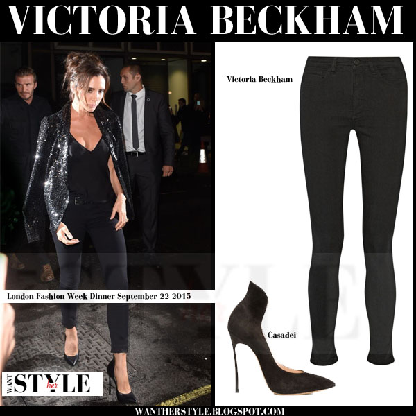 Victoria Beckham in black sequin jacket with black skinny jeans and black pumps what she wore streetstyle