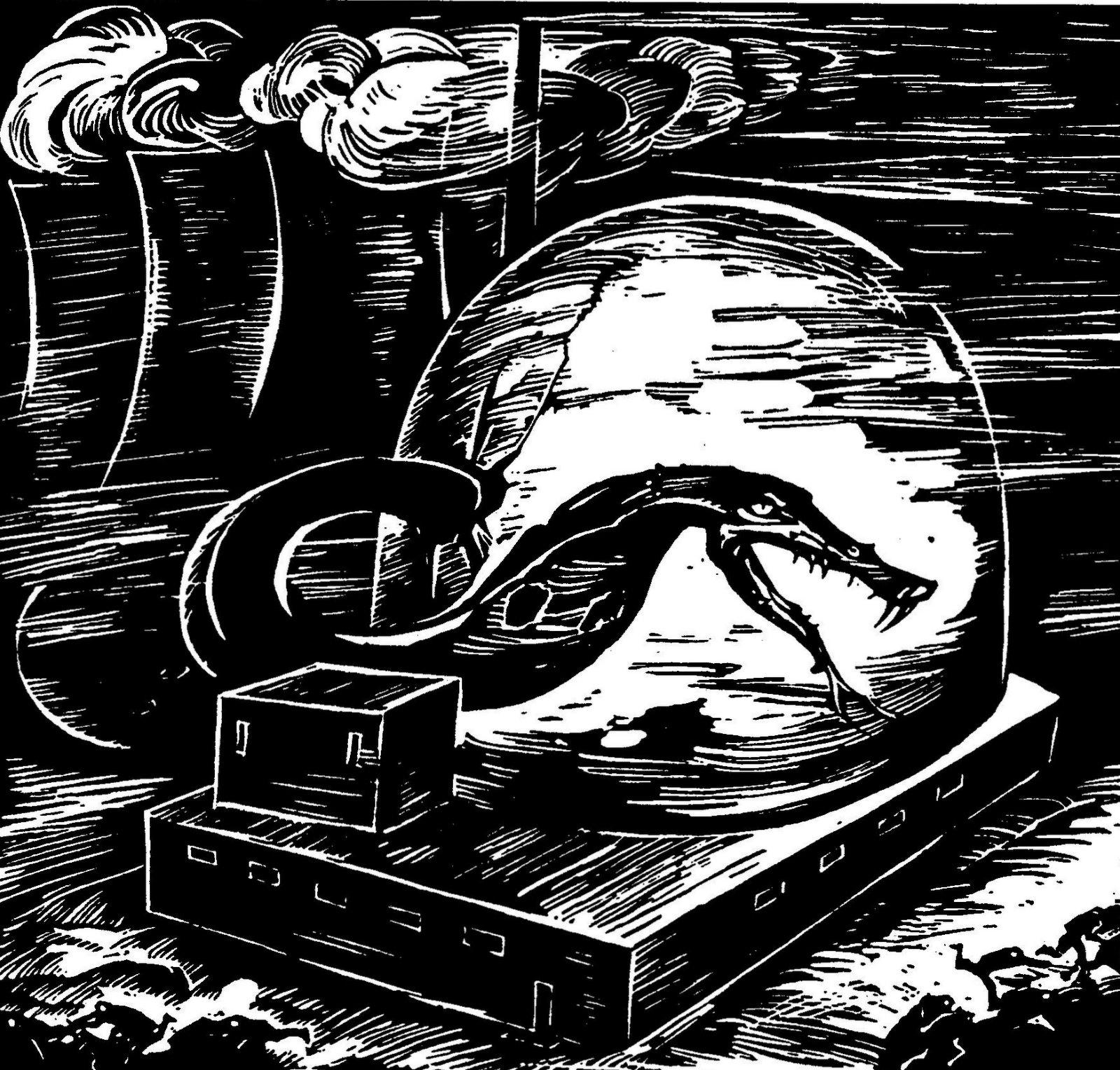 rudolf warnecke schwarz weiss grafik defekter atommeiler. Black Bedroom Furniture Sets. Home Design Ideas