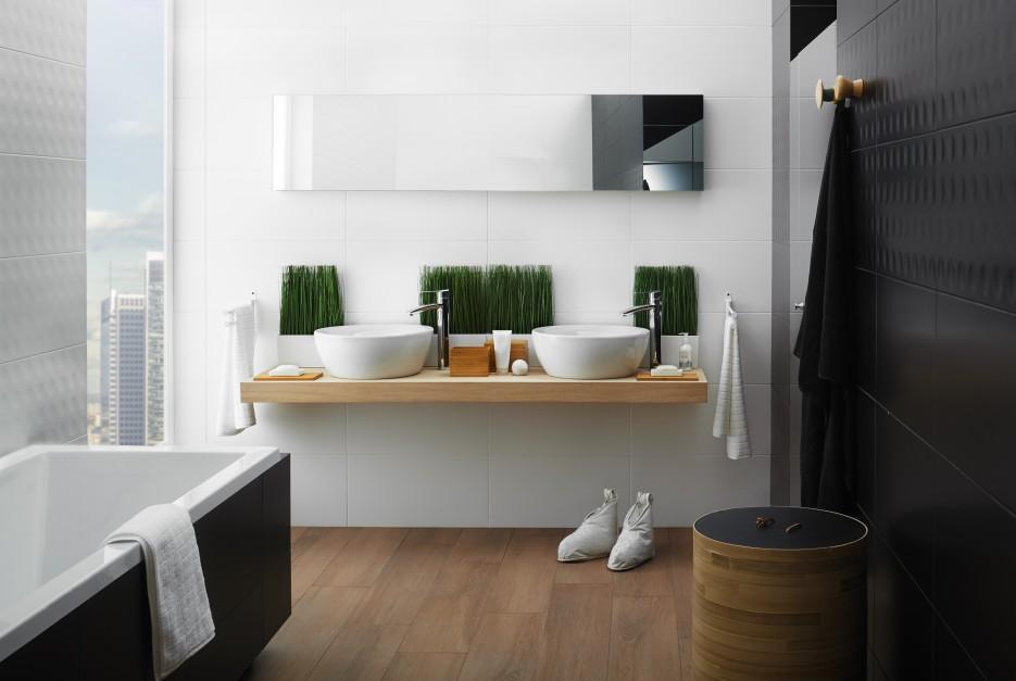 7 ideas con fotos para lavabos sobre encimera de madera for Muebles de cuarto de bano grandes