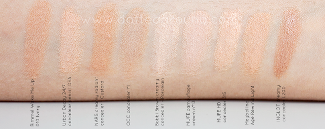 light concealers NC15 bobbi brown nars occ swatches