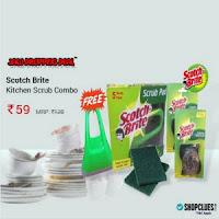 Buy Scotch Brite 5pc Set Green Pad , 2pc Steel scrub , Food Scraper , Rs. 2 Cluebucks & Rs. 18 Mobikwik Cash Rs. 90:buytoearn
